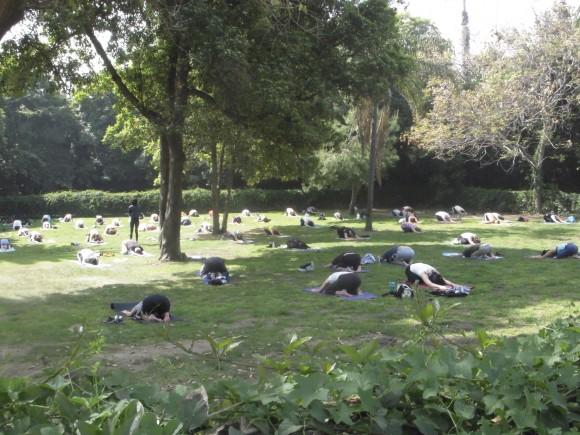Very cool.  Outdoor yoga at Runyon Canyon Park. I like Cali.