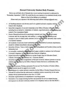 HUSA Demands to Howard University Administration